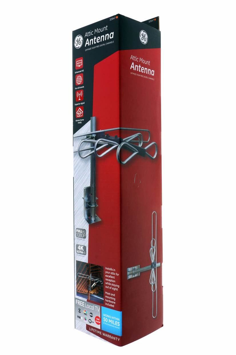 Ge Indoor Attic Closet Mount Tv Antenna Full Hd 1080p Hdtv Vhf Uhf 4k Ultra Hd 50 Mile Range Ge32647