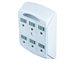 6 Outlet Power Plug Adapter Type B White with nightlight