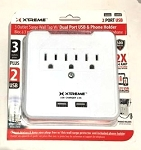 3 AC Outlet Adapter with 2 USB Charging Ports - Surge Protected