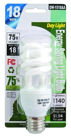 18 WATT BULB  REPLACES 75 WATT BULB (DW-1518AA)