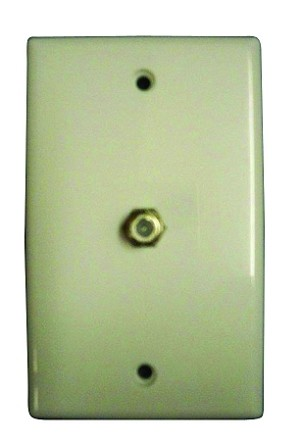 Single Cable Outlet 75 Ohm Wall Plate White (MA-1010)