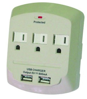 1875w 3 Outlet Surge Protector Wall Tap 15v Dual USB Charging Station Ports (PT-7843U)